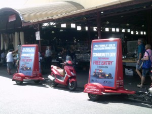 Scooter Advertising Sydney advertising in front of the Queen Vic Markets